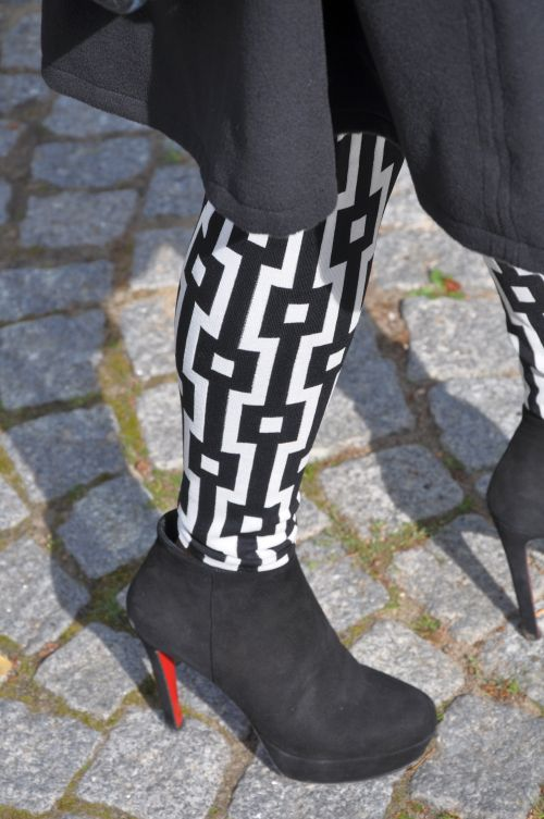 H&M Tend Leggings, Schwarz-Weiß Print, Sasion 2014, Fashionblogger
