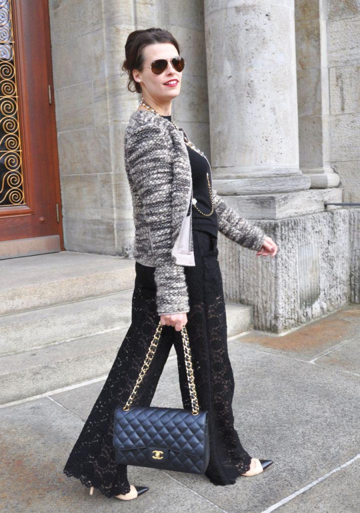 #OOTD: Marlenehose aus Spitze inspiriert von Chanel