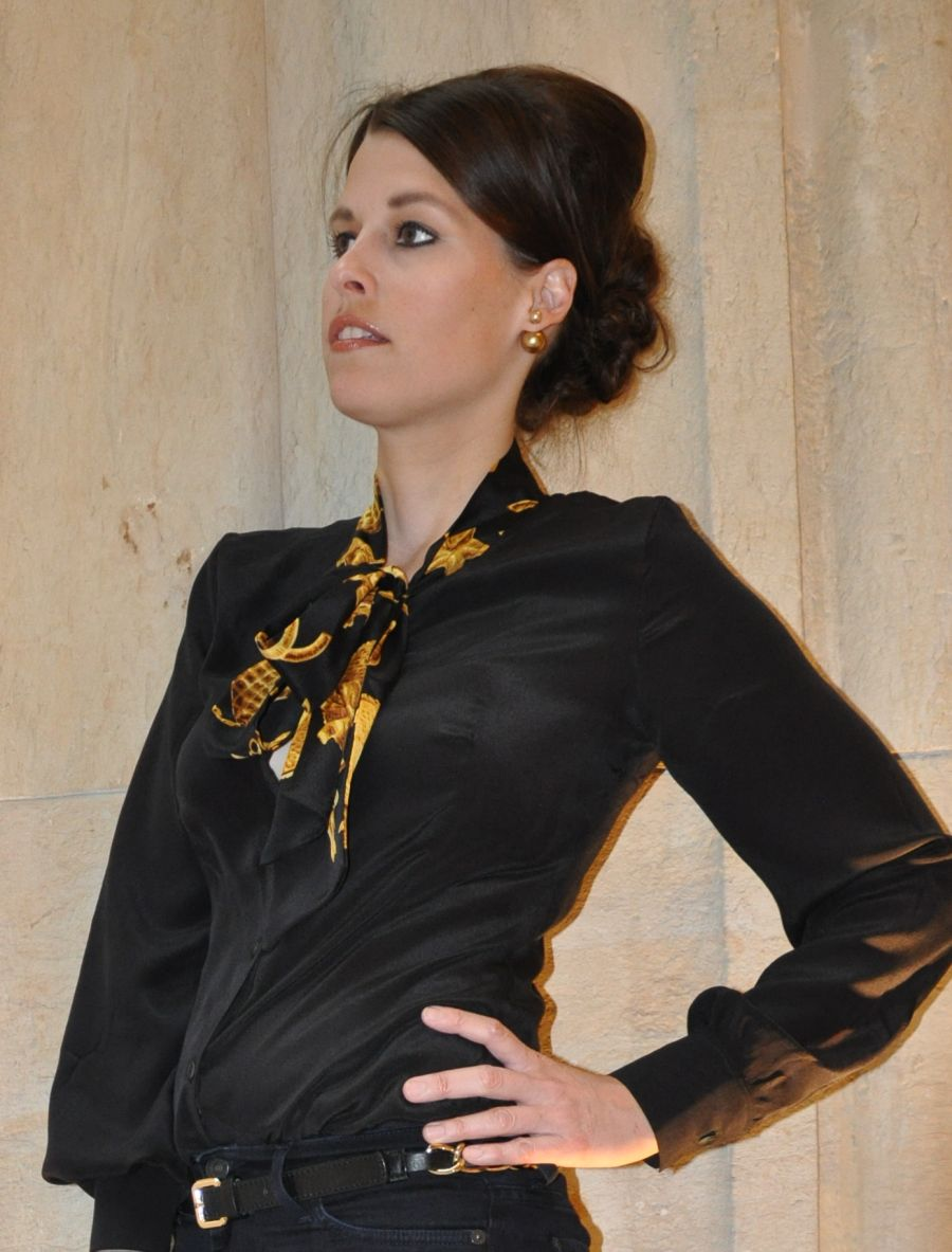 Seidenbluse mit Chanel Vintage-Tuch, selbstgenäht, sewing-blogger